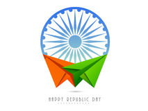 Ashoka Wheel with paper plane for Indian Republic Day celebratio Royalty Free Stock Photography