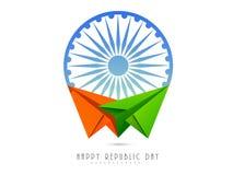 Ashoka Wheel with paper plane for Indian Republic Day celebration. Stock Image