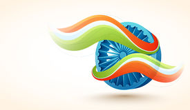 Ashoka Wheel for Republic Day celebration. 3D glossy Ashoka Wheel covered by National Flag Colours waves for Indian Republic Day celebration Stock Images