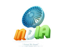 Ashoka Wheel for Republic Day celebration. 3D National Flag colours text India with Ashoka Wheel on white background for Happy Republic Day celebration Royalty Free Stock Images