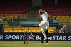 Ashoke Dinda cricketer. Ashoke Dinda playing for Rest of India bowls aggressively during the ongoing Irani Cup game in Bengaluru. He is trying to bring his team stock image
