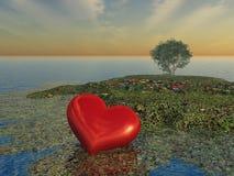 ashore помытое сердце Стоковое Изображение