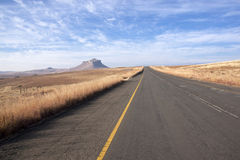 Ashpalt Road Bordered by Winter Grass in South Africa Royalty Free Stock Photography