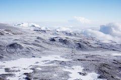 ashpit icefield北kilimanjaro的挂接 库存照片