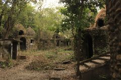 Ashram di Beatles, rovine nella giungla Fotografie Stock Libere da Diritti