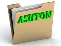 ASHTON- bright green letters on gold paperwork folder Royalty Free Stock Images