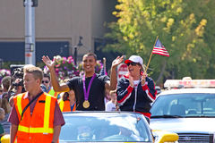 Ashton Eaton Olympian Homecoming Parade. Ashton Eaton, Olympic decathlon winner in his homecoming parade in Bend, Oregon Stock Images