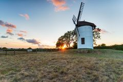 Ashton Windmill in Somerset. Sunset at Ashton Windmill near Wedmore in Somerset stock images