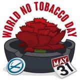Ashtray, γαρίφαλο, ημερολόγιο και καρφίτσα για τον κόσμο καμία ημέρα καπνών, διανυσματική απεικόνιση Στοκ φωτογραφίες με δικαίωμα ελεύθερης χρήσης