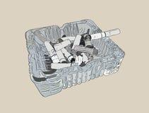 Ashtray και καπνισμένα τσιγάρα, διάνυσμα σκίτσων διανυσματική απεικόνιση