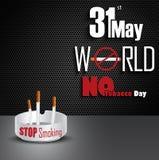 Ashtray με τα τσιγάρα για τον κόσμο την 31η Μαΐου καμία ημέρα καπνών Στοκ Εικόνες
