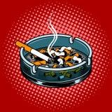 Ashtray με τις άκρες τσιγάρων σκάει το διάνυσμα ύφους τέχνης Στοκ Εικόνες