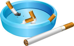 Ashtray. A vector illustration of an ashtray with cigarette butts Royalty Free Stock Photography