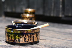 Ashtray in black Royalty Free Stock Photography