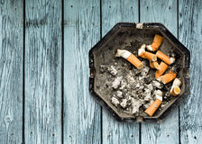 Ashtray with butts Royalty Free Stock Photography