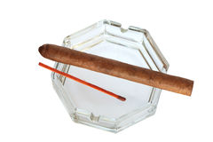 Ashtray With Cigar Royalty Free Stock Photo