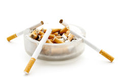 Ashtray with cigarets Royalty Free Stock Photos