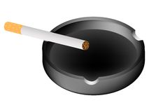 Ashtray and cigarette against white Stock Photo
