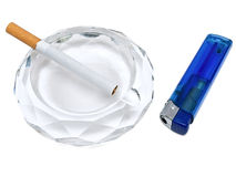 Ashtray,cigarette and lighter Royalty Free Stock Photography