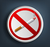 Ashtray with cigarette and prohibitory sign. Vector ashtray with cigarette and prohibitory sign Stock Photo