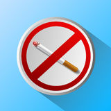 Ashtray with cigarette and prohibitory sign. Vector ashtray with cigarette and prohibitory sign Stock Photos