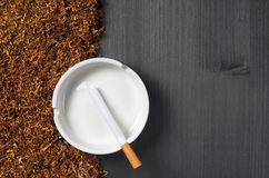 Ashtray, cigarette and tobacco Royalty Free Stock Photo
