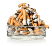 Ashtray and cigarettes. Cigarettes in an ashtray isolated on white background Royalty Free Stock Image