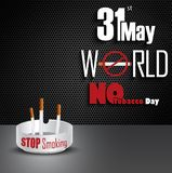 Ashtray with cigarettes for 31st May world No tobacco day Stock Images
