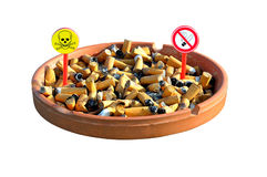 Ashtray four. The dangers of smoking cigarettes Stock Photo