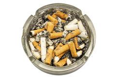 Ashtray. Full of cigarette butts, isolated on white background Stock Image