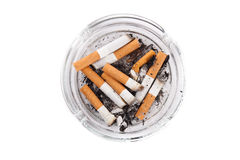 Ashtray full of cigarettes close-up Royalty Free Stock Photography