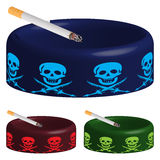 Ashtray with skuls and cigarette. Against white background, abstract vector art illustration Stock Image