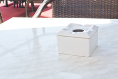 Ashtray on table. In outdoor restaurant in Mallorca, Balearic islands, Spain in July Stock Images