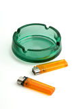 Ashtray with two  lighters isolated on Stock Image