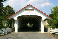 Ashuelot Covered Bridge. NH Covered Bridge No. 1, 169' long Town lattice truss, built 1864 and spanning Ashuelot River in the village of Ashuelot, New Hampshire Stock Image