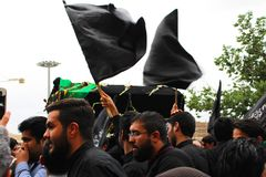 Ashura-Prozession in Qom, der Iran stockfotografie
