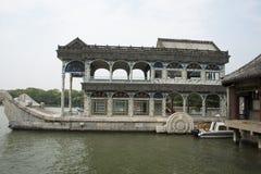 Asiático China, Pekín, el palacio de verano, barco de piedra Imágenes de archivo libres de regalías