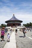 Asiático China, Pekín, parque de Tiantan, la cámara acorazada imperial del cielo, edificios históricos Imagen de archivo libre de regalías