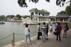 Asiático China, Pequim, o palácio de verão, barco de pedra Fotos de Stock Royalty Free