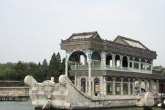Asiático China, Pequim, o palácio de verão, barco de pedra Fotografia de Stock Royalty Free
