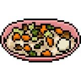 Asiático do alimento da arte do pixel do vetor ilustração do vetor