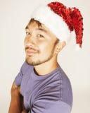 Asiático exótico Papá Noel de Funy en Años Nuevos rojos Fotos de archivo libres de regalías