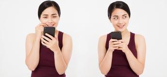 Asiático, menina coreana que guarda o smartphone, colagem isolada no fundo branco Copie o espaço imagens de stock