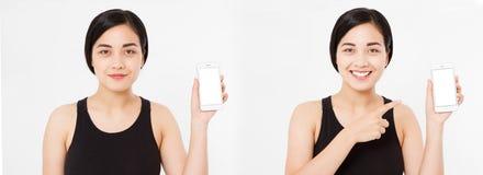 Asiático, menina coreana que guarda o smartphone, colagem isolada no fundo branco Copie o espaço fotos de stock