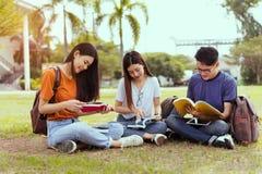 Asiático novo dos estudantes que lê junto o estudo do livro imagem de stock royalty free