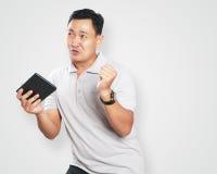 Asiático novo engraçado Guy Dancing fotos de stock