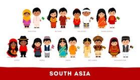 Asiáticos en ropa nacional Asia del Sur Sistema de personaje de dibujos animados stock de ilustración