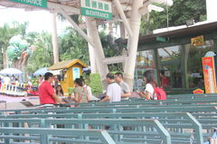 Asia,china,Shenzhen,Into the Happy Valley theme park area of tourists. Visitors through the bill into the great to Shenzhen Happy Valley Theme royalty free stock images