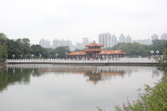 Asia,China,Water promenade and ancient architecture in Shenzhen litchi Park Stock Image