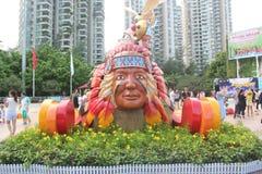 Asiaï ¼ Œchinaï ¼ ŒShenzhenï ¼ Œthe indianina głowy statua w Szczęśliwym dolina kwadracie Obraz Royalty Free